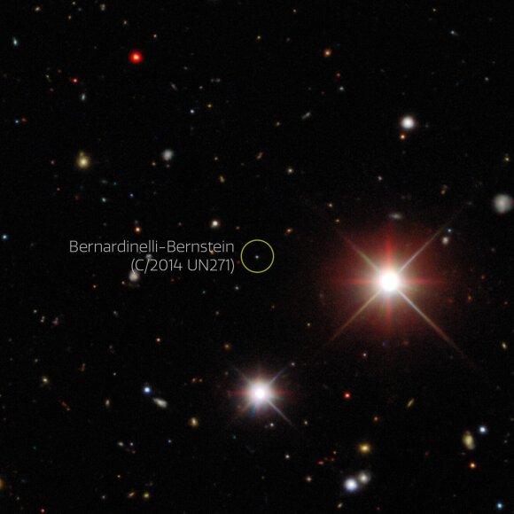 Kometa Bernardinelli-Bernstein. Dark Energy Survey/DOE/FNAL/DECam/CTIO/NOIRLab/NSF/AURA/P. Bernardinelli & G. Bernstein (UPenn)/DESI nuotr.