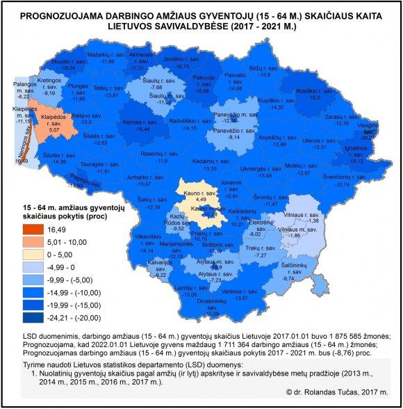 Prognozuojama darbingo amžiaus gyventojų (15–64 m.) skaičiaus kaita Lietuvos savivaldybėse (2017–2021 m.).