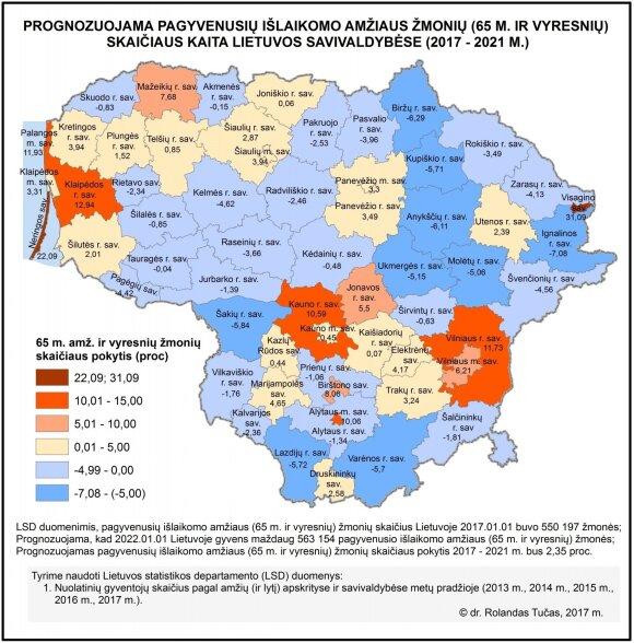 Prognozuojama pagyvenusių išlikomo amžiaus gyventojų (65 m. ir vyresnių) skaičiaus kaita Lietuvos savivaldybėse (2017–2021 m.).