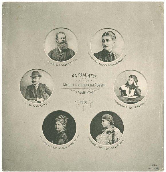 """Kretingos muziejuje eksponuojama nuskaityta knygos """"Tyszkiewiciana"""" priešlapio, kuriame puikuojasi Tiškevičių šeimos nuotraukos, kopija. Leidinys saugomas Vrublevskių bibliotekoje"""