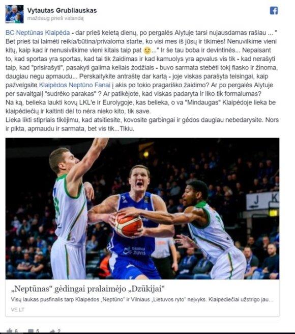 """Vytauto Grubliausko """"Facebook"""" įrašas"""
