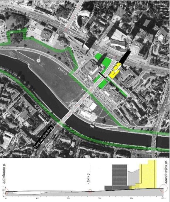 13 pav. Centro gatvių jungtis ir galima aukšybinio pastato vieta (autoriaus brėž.)