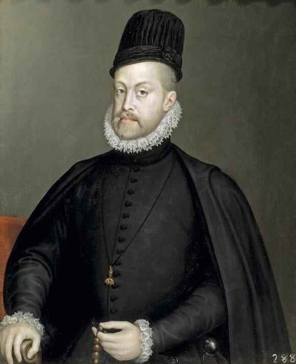 Karalius Pilypas II Habsburgas su ispaniško stiliaus toka