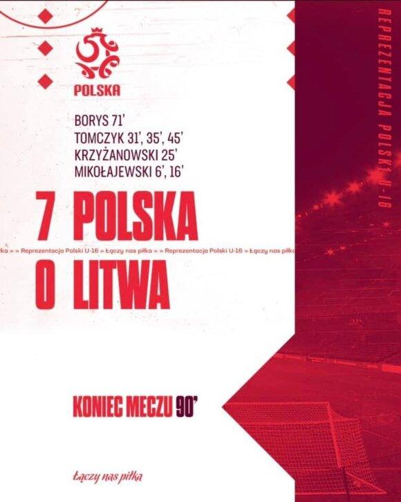 Lenkijos ir Lietuvos šešiolikmečių futbolininkų mačas