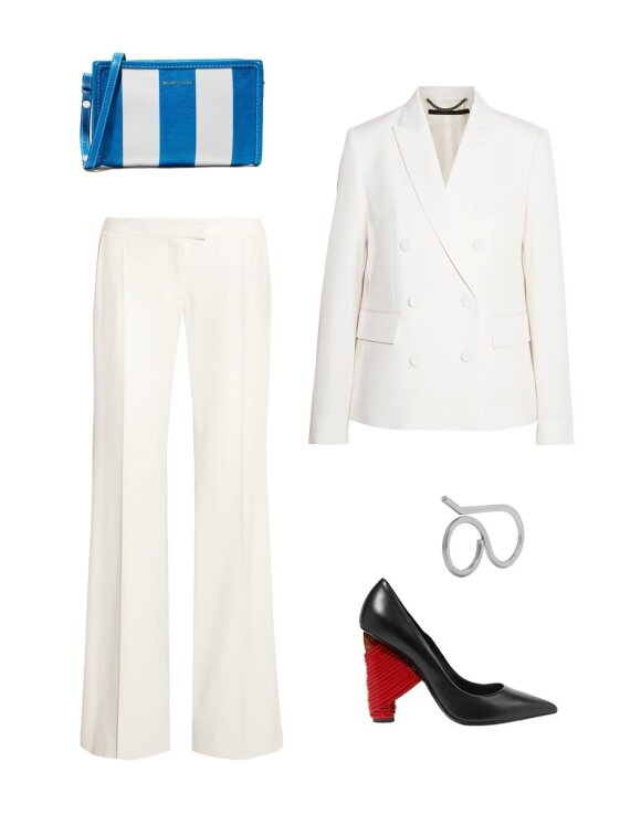 """Švarkas ir kelnės, """"Stella McCartney"""", rankinė, žiedas, batai, """"Balenciaga""""; """"Net-a-porter"""""""