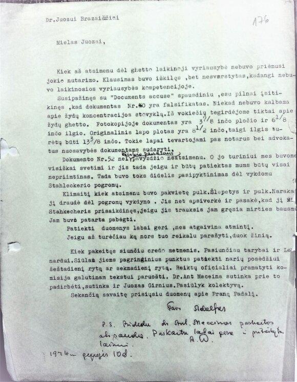 Damušio laiško faksimilė