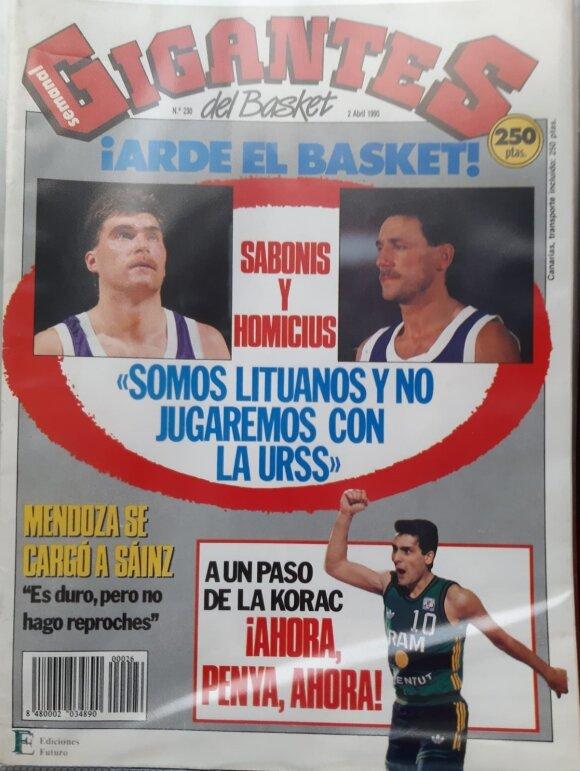 """""""Gigantes del Basket"""" 1990-ųjų balandžio numerio viršelis"""