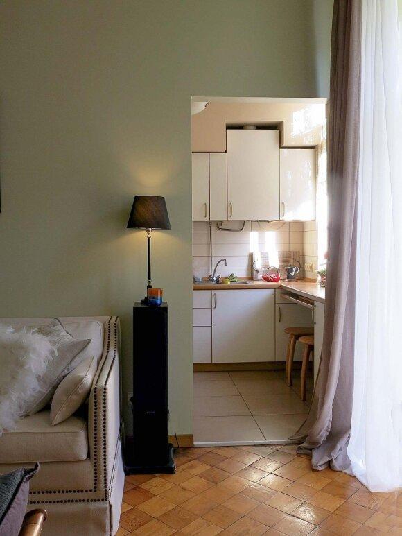 Nedidelę virtuvę nuo svetainės dekoratorė planuoja atskirti dvivėrėmis durimis