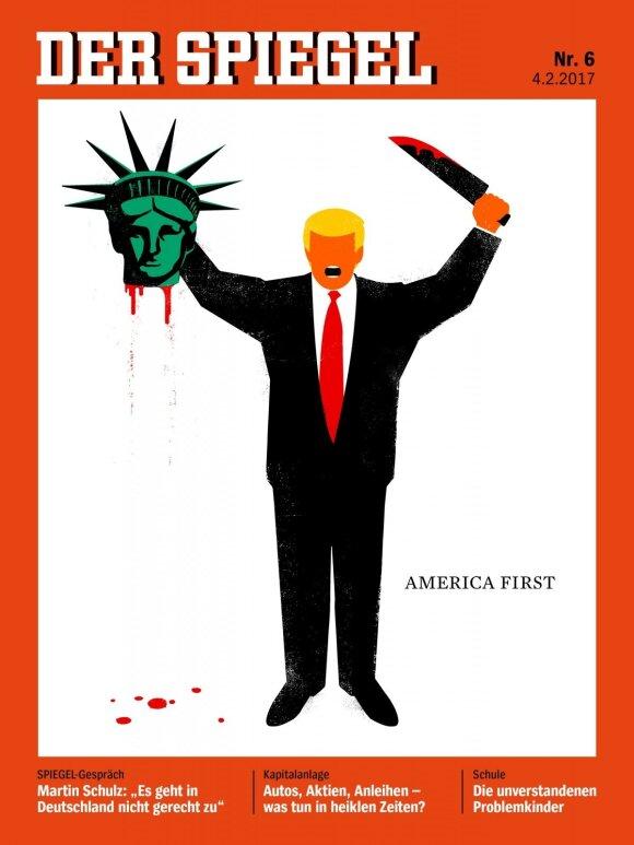 Der Spiegel karikatūra apie D. Trumpą