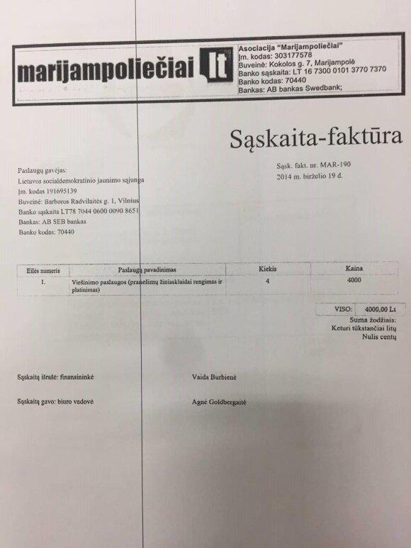 """Asociacijos """"Marijampoliečiai"""" sąskaita-faktūra LSDJS"""