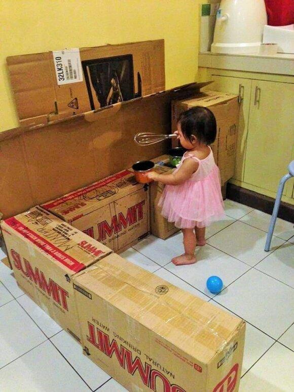 Neįtikėtina, ką ši mama padarė iš nereikalingų kartono dėžių