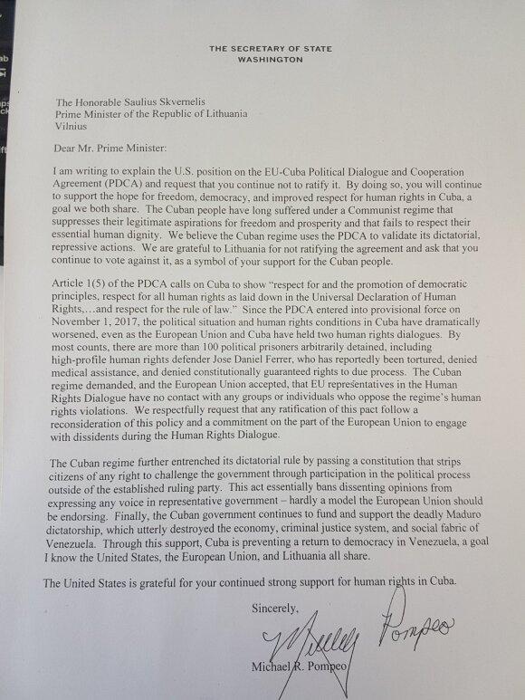 JAV valstybės sekretorius kreipėsi į Skvernelį, senatoriai – į ambasadorių