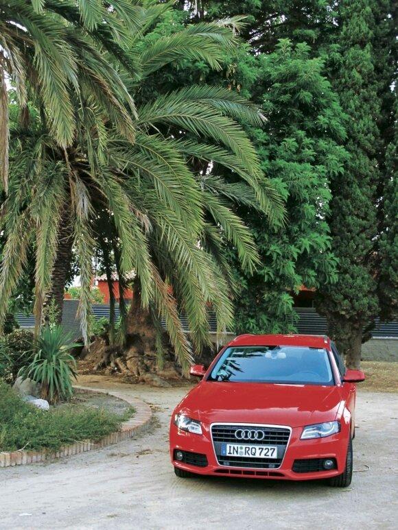 """""""Audi"""" šildosi Katalonijos (Ispanija) saulėje. Net ilgos kelionės A4 universalu nebuvo itin varginančios"""