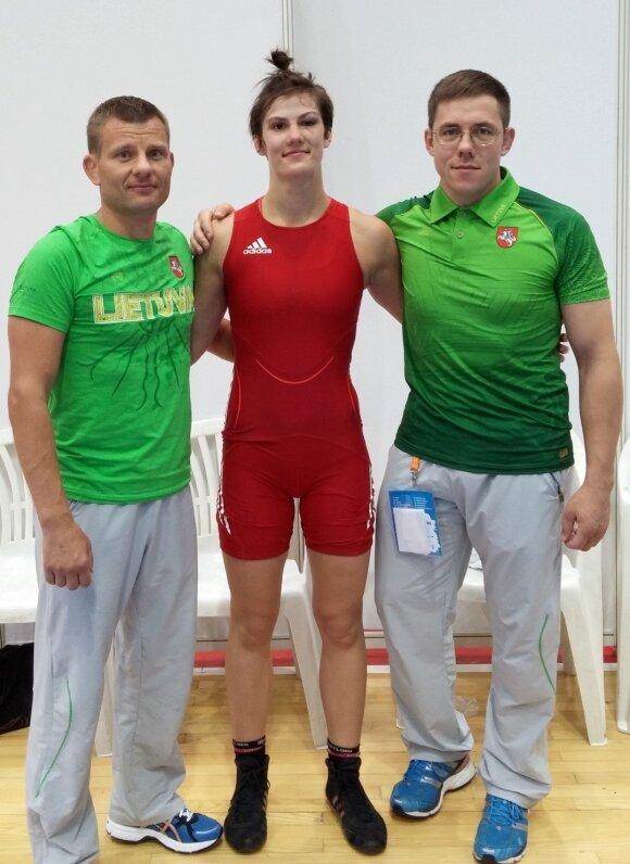 Danutė Domikaitytė ir treneriai Aivaras Kaselis ir Andrius Stočkus