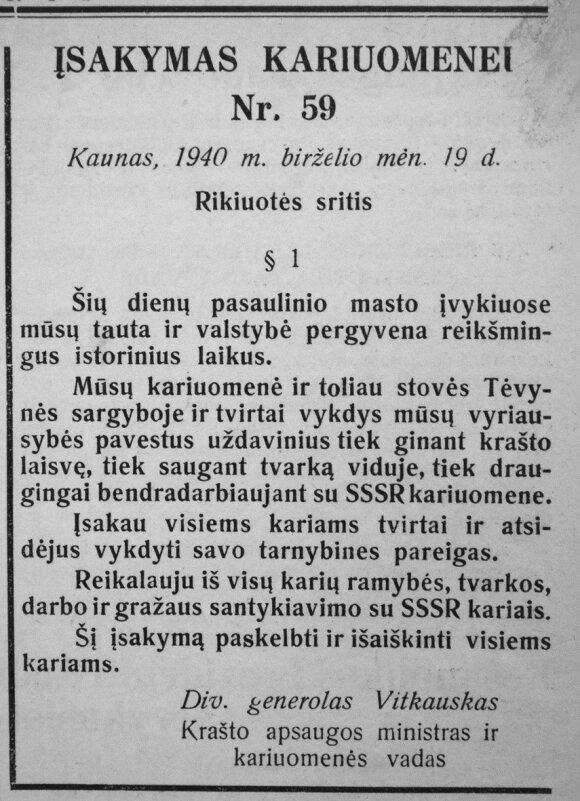 """Vienas iš spaudoje skelbtų generolo V. Vitkausko įsakymų nesipriešinti. """"Karys"""", 1940 m.birželio 20 d. Nr. 25."""