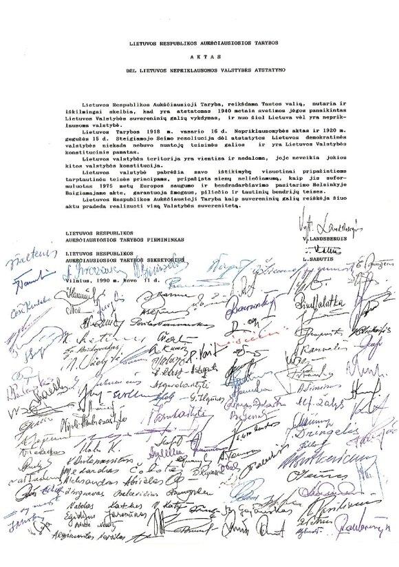 Kovo 11-osios Nepriklausomybės atkūrimo aktas