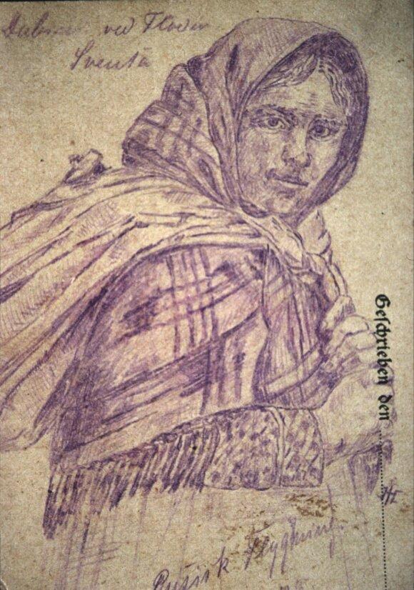 Rusų (iš tikrųjų – lietuvių) pabėgėlė. Dabužiai šalia Šventosios upės. 1915 m. Iš Henningsenų šeimos archyvo