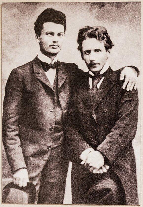 Mikalojus Konstantinas Čiurlionis (right) with Eugenijus Moravskis (left) in Warsaw 1902 - Čiurlionis Namai Vilnius