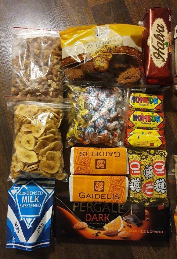 saldūs maisto produktai ir užkandžiai