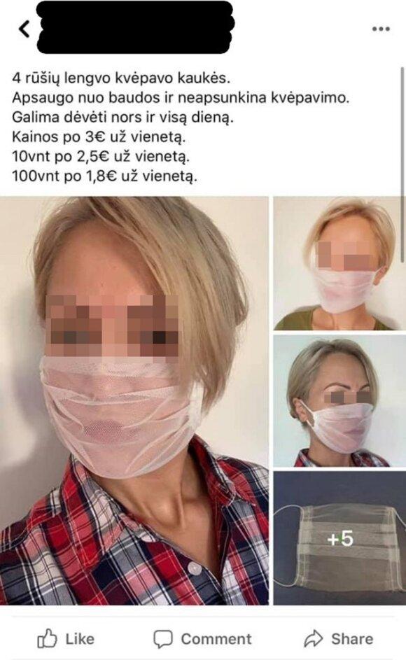 """Nusprendė užsidirbti: melagingai teigia, kad kaukės apsaugo tik nuo baudų ir siūlo tokias """"priemones"""""""