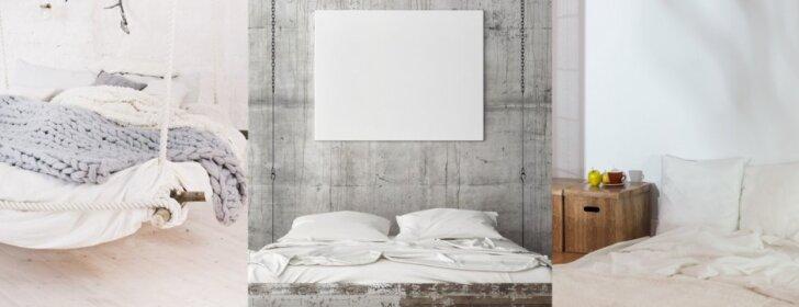 Miegamasis be tradicinės lovos: keli dizaino sprendimai