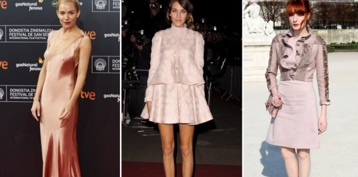 Pudros spalvos drabužius mielai dėvi Sienna Miller, Alexa Chung ir Florence Welch