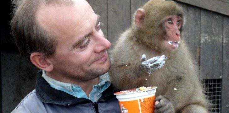 M. Ivanauskas su augintine makaka