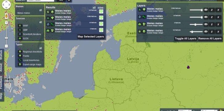 Interaktyvaus žemėlapio vaizdas. Žaliai pažymėta barsuko (meles meles) gyvenama teritorija