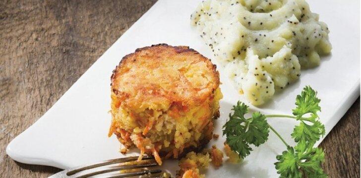 Avinžirnių kotletai su morkomis ir ypatinga bulvių koše