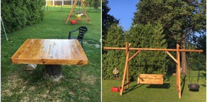 """<span style=""""color: #ff7f00;"""">Darau pats:</span> sūpynės vaikams ir lauko stalas iš medienos"""