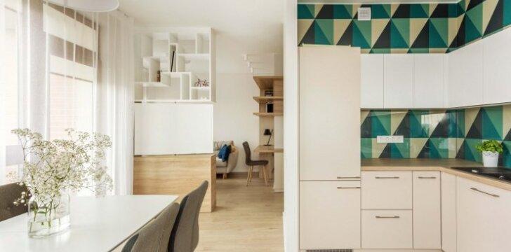 Mažos erdvės sprendimai 52 kv.m bute Vilniuje