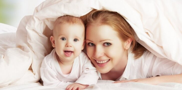 vaikas, kūdikis, mama, lova, miegas