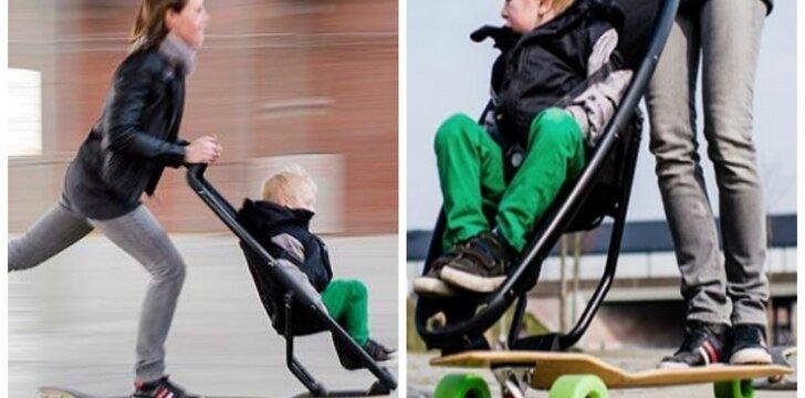 """Vežimėlis ant riedlentės - išeitis skubantiems tėvams? <sup style=""""font-family: yui-tmp; color: #ff0000;"""">Video</sup>"""
