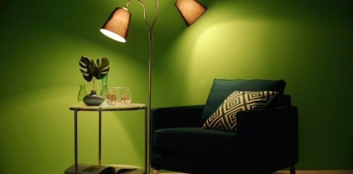 Dekoro tendencija: žalios spalvos siena