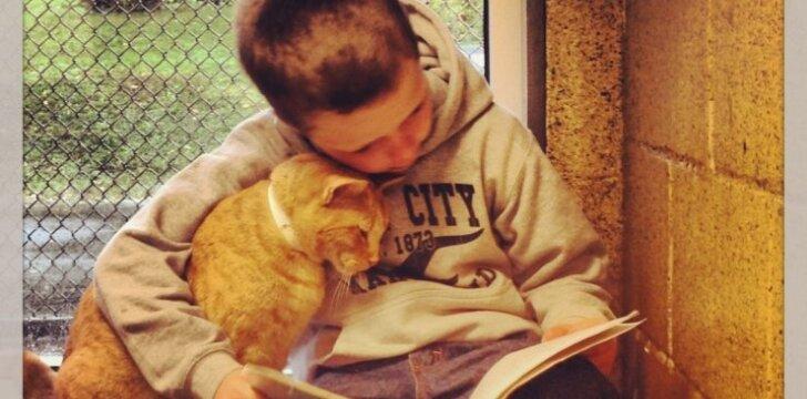"""Vaikai skaito knygas katėms: kokia iš to nauda? <span style=""""color: #ff0000;""""><sup>FOTO</sup></span>"""