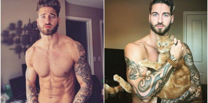Modelis pozuoja su katinu