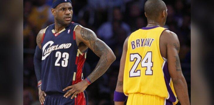 NBA geriausi savaitės žaidėjai - L.Jamesas ir K.Bryantas