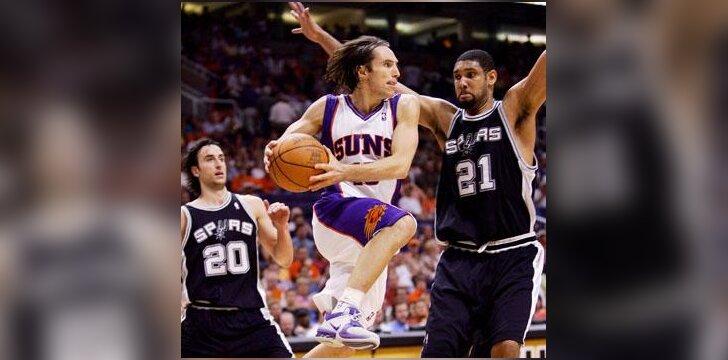 """Steve'as Nashas (""""Suns"""") skrieja pro """"Spurs"""" gynybą"""