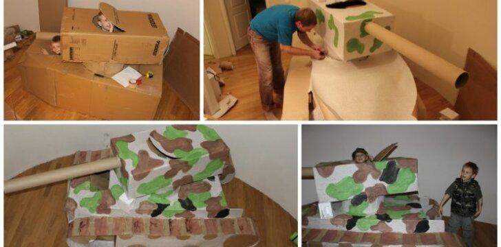 """Išradingieji Lietuvos tėčiai: iš seno kartono – nereali dovana vaikams <sup style=""""color: #ff0000;"""">(FOTO)</sup>"""