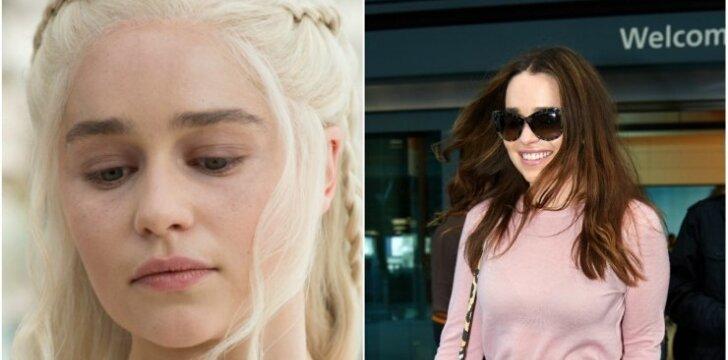 """Aktorė Emilia Clarke filme """"Sostų karai"""" ir realybėje."""