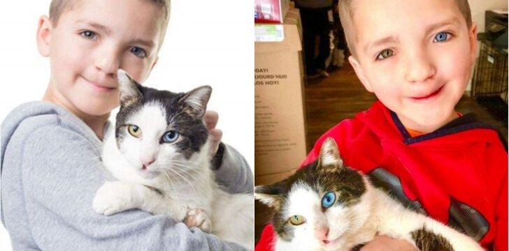 Retos išvaizdos berniukas rado katiną, atrodantį taip pat