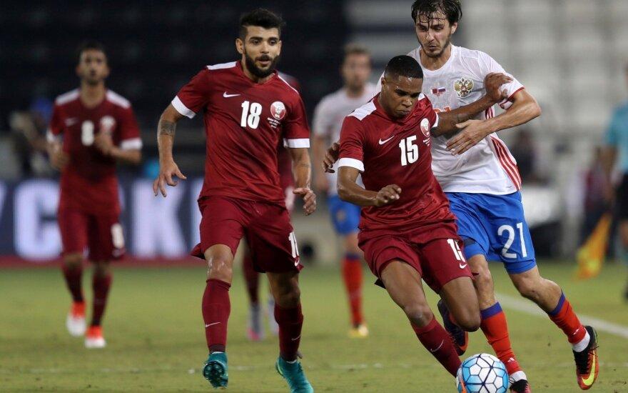 Susitinka Kataro ir Rusijos futbolininkai