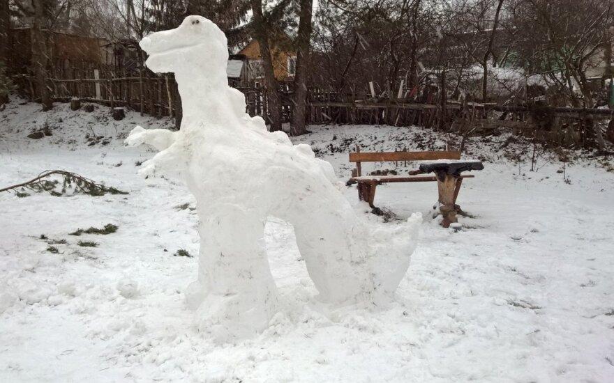 Vilniaus kieme – sniego skulptūros, vertos asmenukių