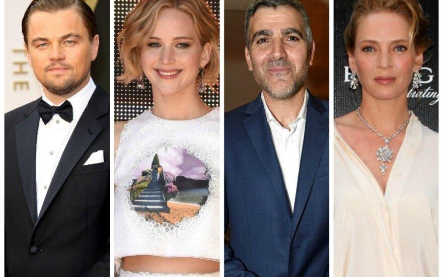 Leonardo DiCaprio, Jennifer Lawrence, George'as Clooney, Uma Thurman