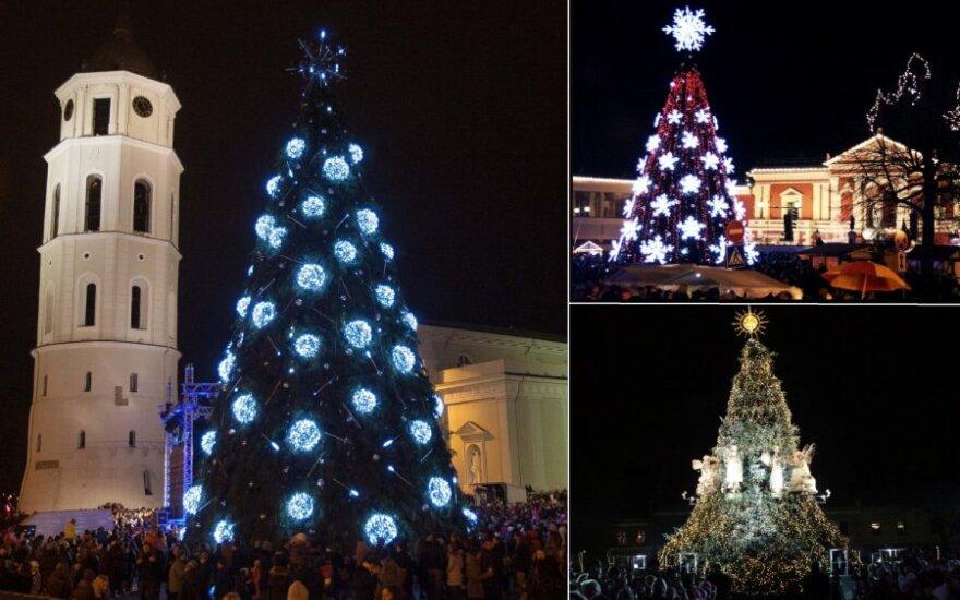 Kalėdų eglutėsVilniuje, Kaune ir Klaipėdoje