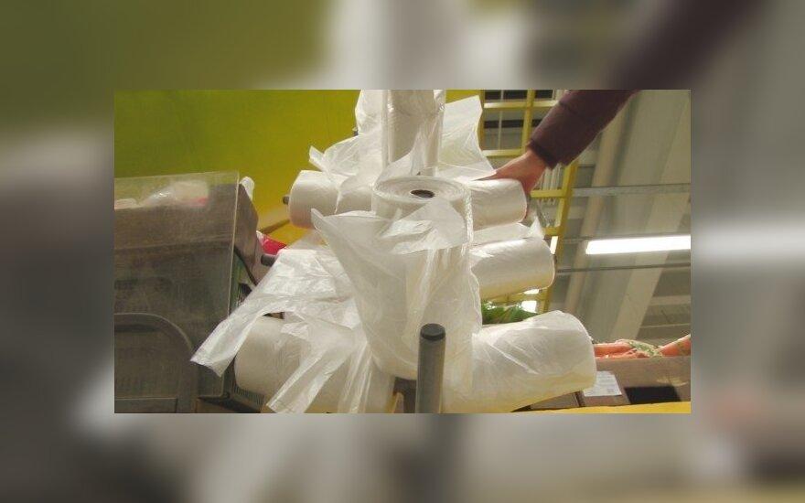 Plastikiniai maišeliai prekybos centre