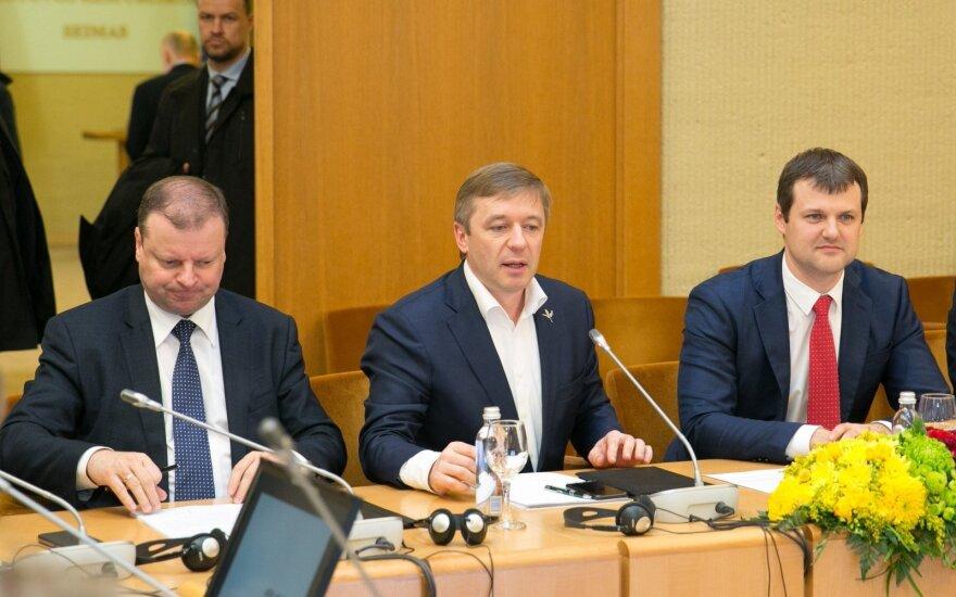 Saulius Skvernelis, Ramūnas Karbauskis and Gintautas Paluckas