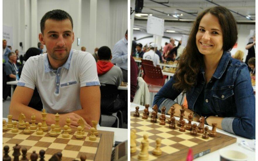 Mindaugas Beinoras ir Dominyka Batkovskytė (chessclub.lt nuotr.)
