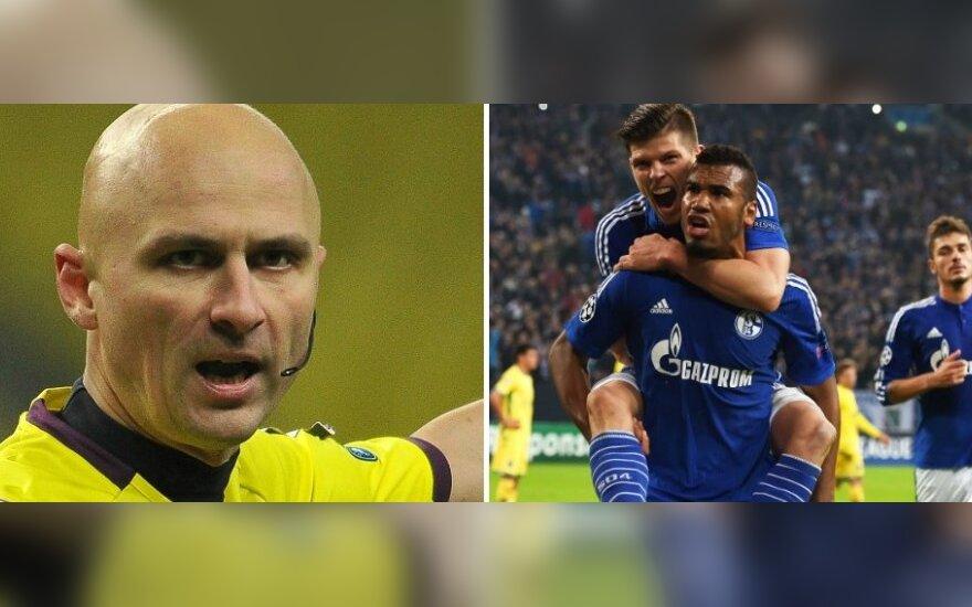 """Sergejus Karasiovas ir """"Schalke 04"""" futbolininkai (Scnapix ir RIA nuotr.)"""