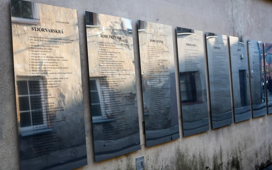 The wall of the Užupis constitution, in various languages